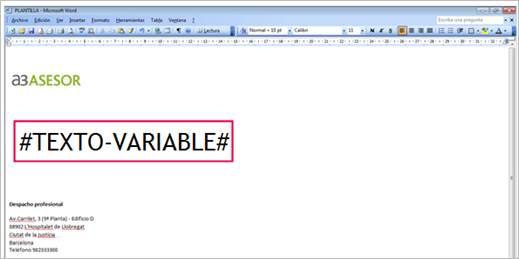 texto variable
