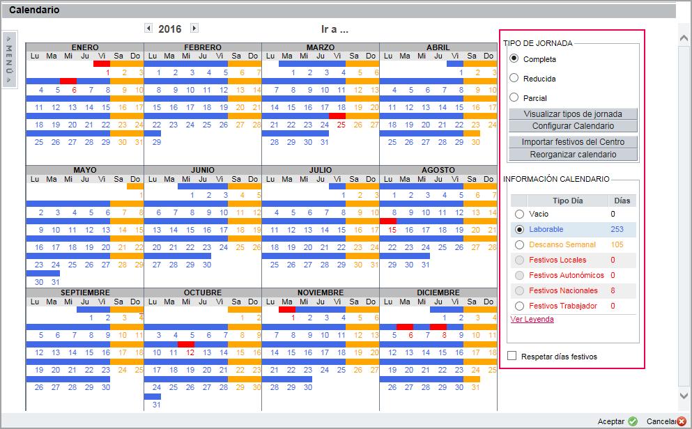 opciones calendario