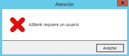 Aviso error al acceder a a3bank