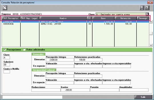 Ordenación consulta de perceptores