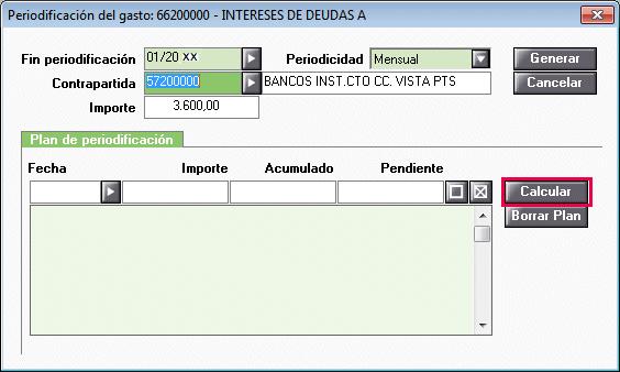 Periodificación calcular plan