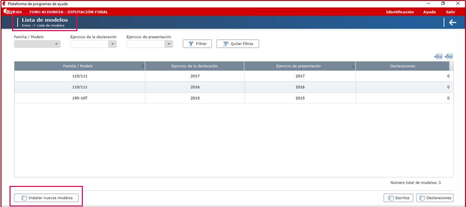 Programa validacion Hacienda lista modelos
