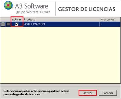 aplicaciones no activadas