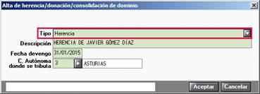 Alta de herencia/donación/consolidación de dominio