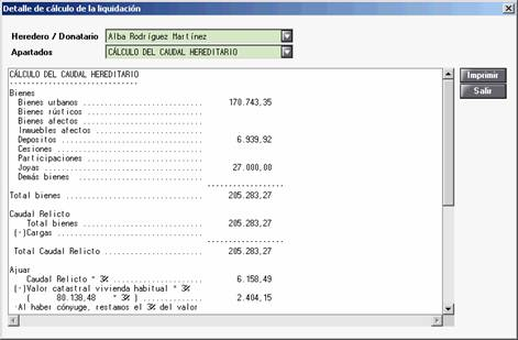 Detalle Cálculo de la Liquidación