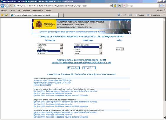 Web de la Secretaria de Estado de Hacienda y presupuestos
