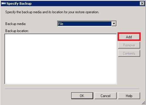 specify backup