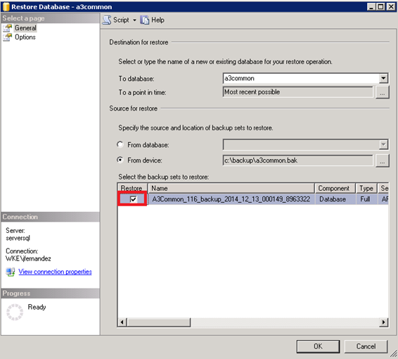 restore database a3common