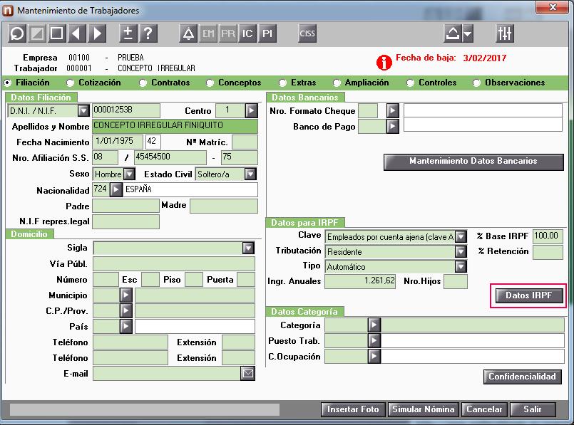 mantenimiento datos irpf16