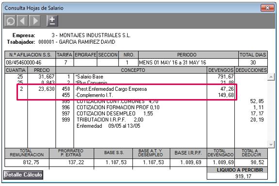 Complemento i t a base reguladora en mensual e indicador i for Ejemplo nomina trabajador