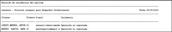 Listado de relación de incidencias del mailing