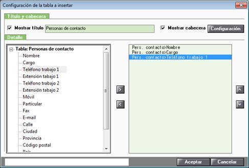 Configuración de la tabla a insertar