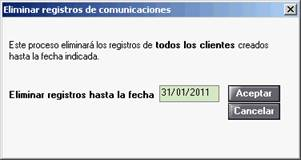 Eliminar registros comunicaciones