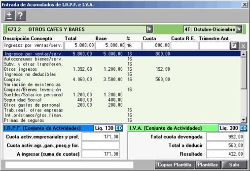Entrada de Acumulados de IRPF e IVA