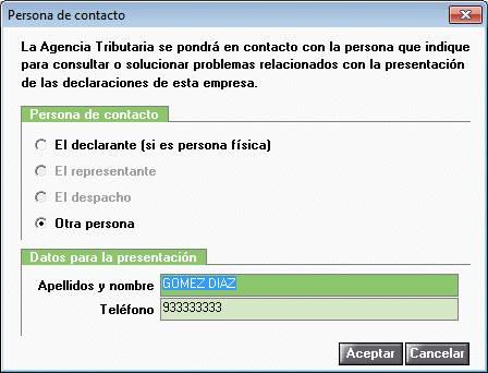 Persona de contacto