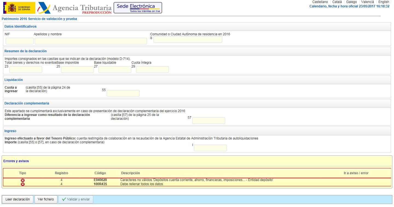 AEAT Errores de validación Modelo 714