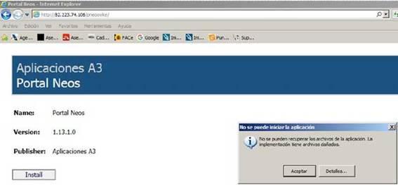 No se pueden recuperar los archivos de la aplicacion