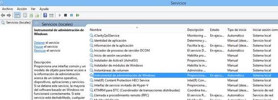 servicio Instrumental de administracion de Windows