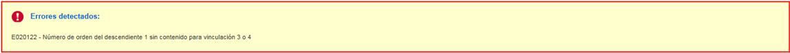 Error Numero de ordem del descendiente 1 sin contenido para vinculacion 3 o 4