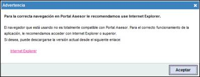 Mensaje informativo recomendando Internet Explorer como navegador compatible