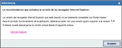 Comprobación de la versión de Internet Explorer