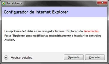 Mensaje de configuración de Internet Explorer