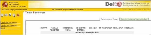 Web Ministerio Trabajo y Asuntos Sociales gestión documentos