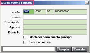Alta de cuenta bancaria