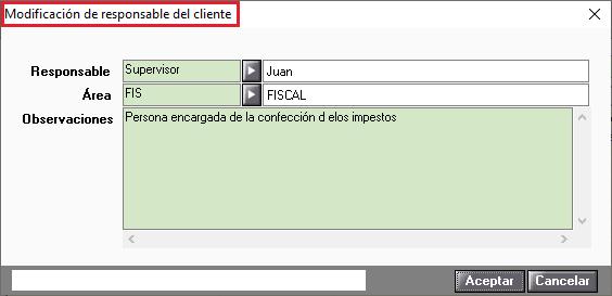 Modificacion de responsable del cliente