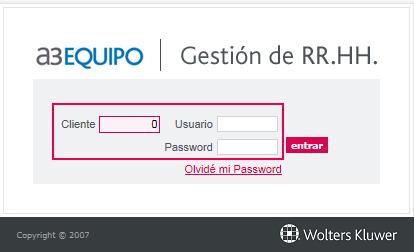 datos de acceso de cliente