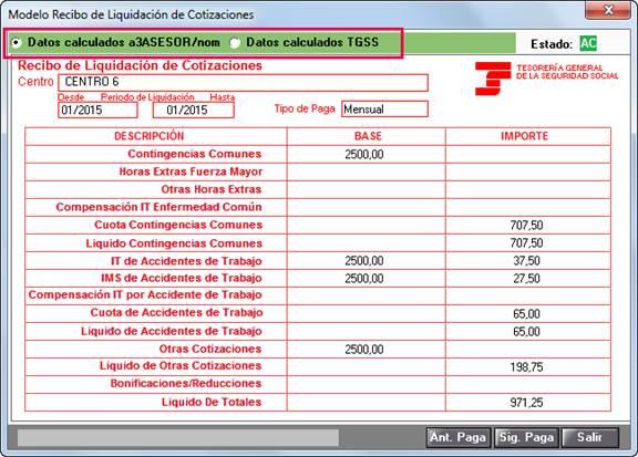 modelo recibo liquidacion cotizaciones
