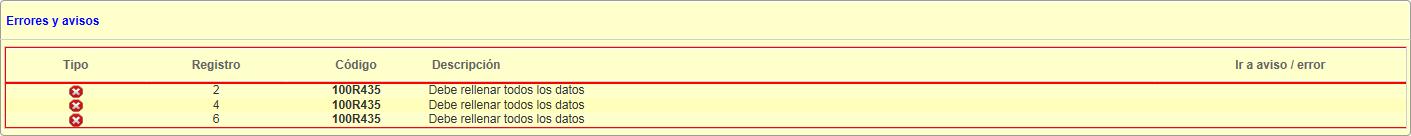 Error 100R435 Debe rellenar todos los datos