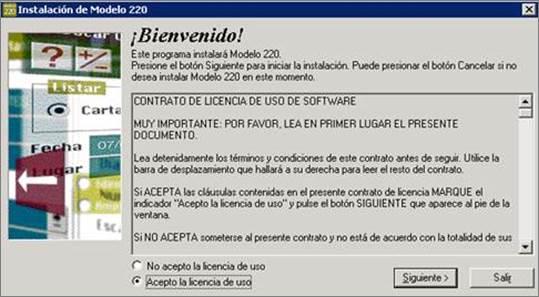 instalación modelo 220, licencia uso