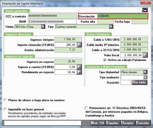 E020020 Caracteres no válidos Depósitos cuenta corriente, ahorro, financieras, imposiciones... - Entidad depósito