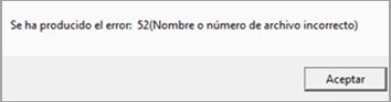 mensaje error 52