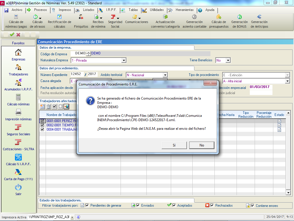 ruta fichero XML ERE