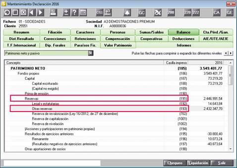 Plan contable reservas