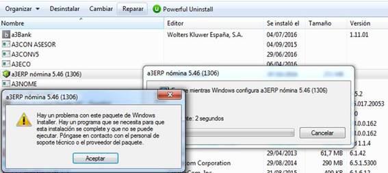 Mensaje indicando un problema con el paquete de Windows Installer