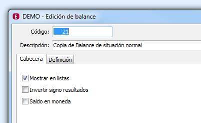 Cabecera edición de balance