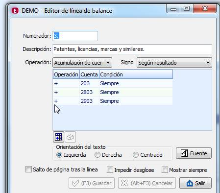 Editor de línea de balance