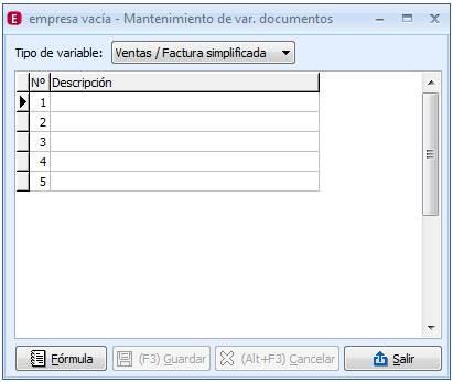 Mantenimiento de variables de documentos
