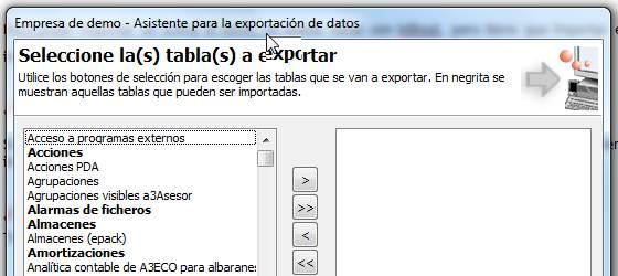 Asistente para la exportación de datos
