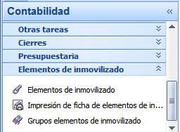 Contabilidad / Elementos inmovilizado / Impresión de ficha de elementos de inmovilizado