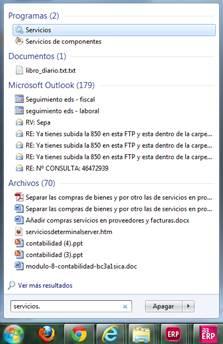 Inicio/buscar archivos y programas
