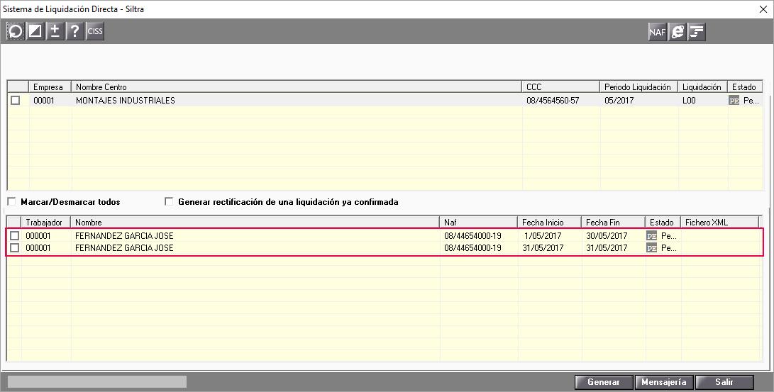 fichero bases SILTRA dos nominas