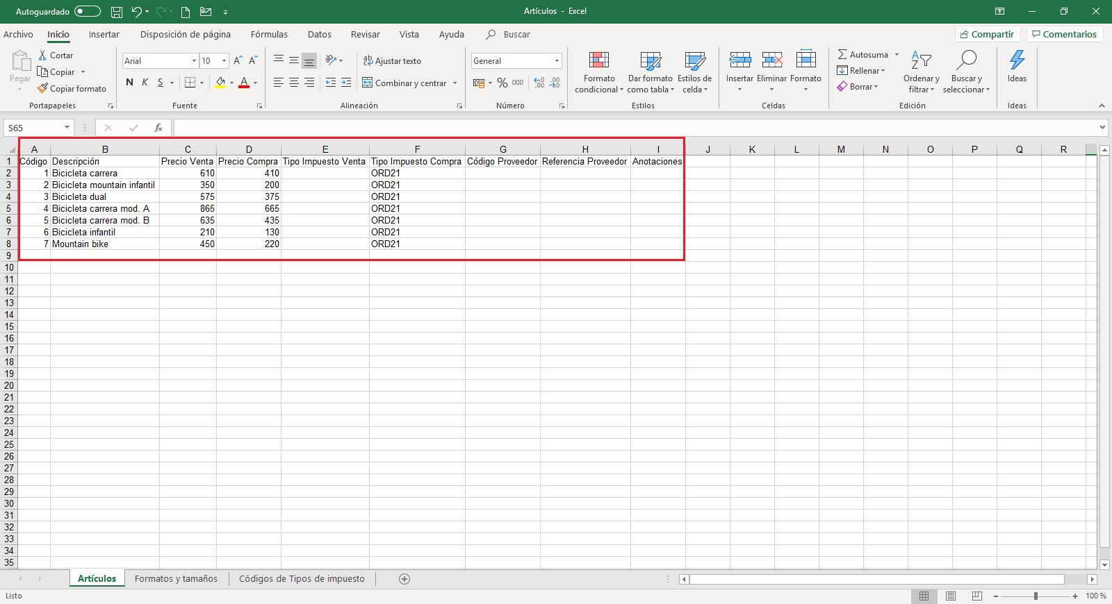 Articulos Importar Excel cumplimentado