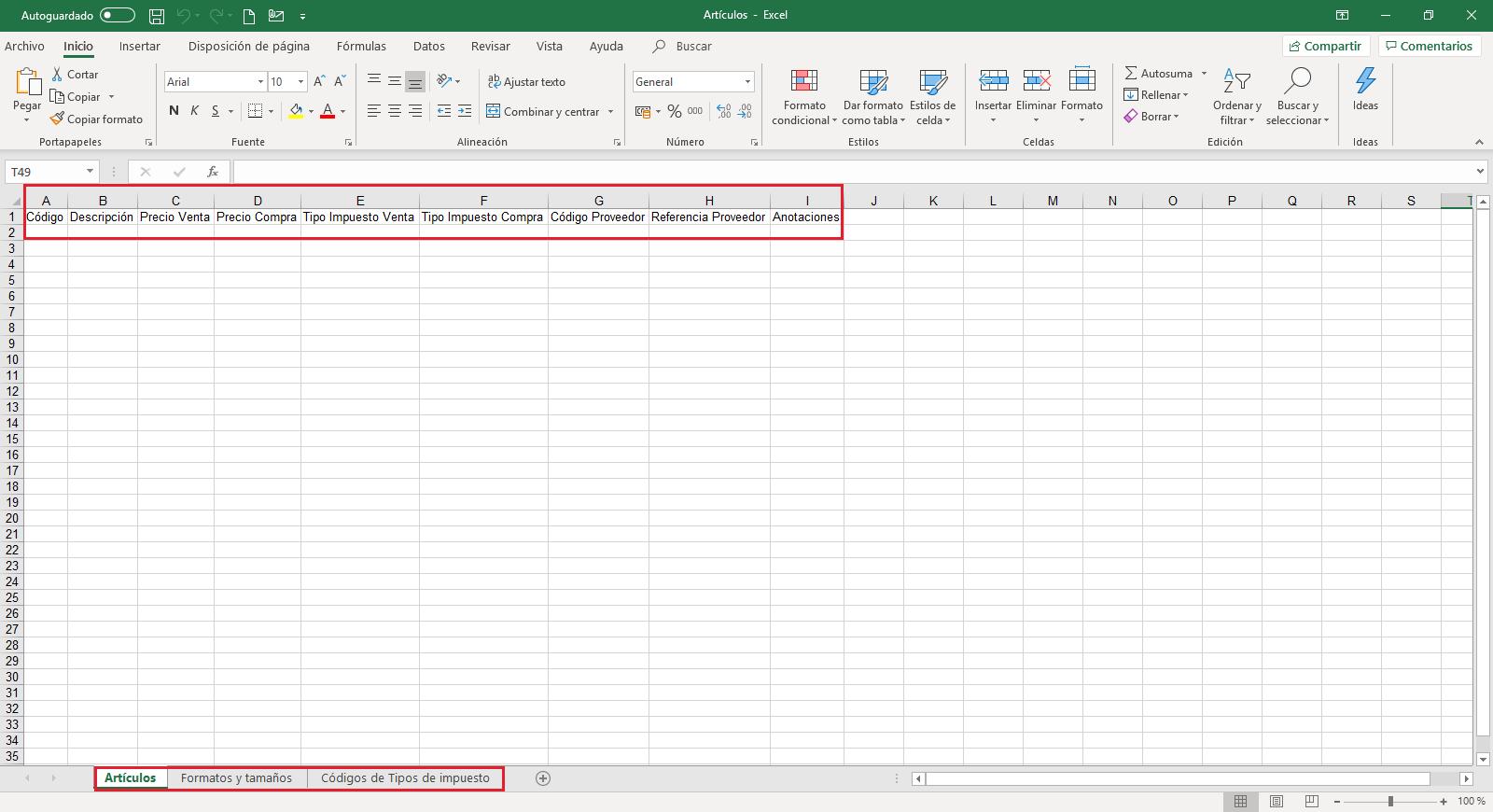 Articulos Importar Excel