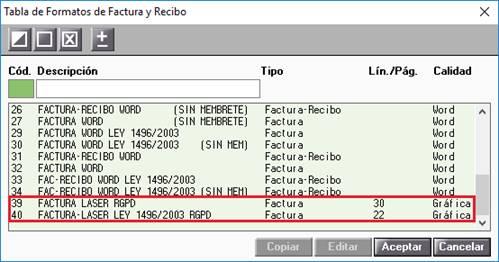 Tabla de Formatos de Facturas y Recibo