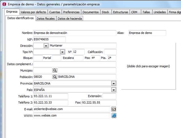 Parametrización de la Empresa: Empresa / Datos identificados