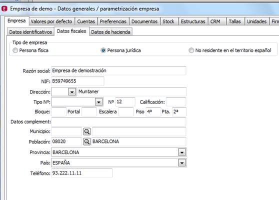 Parametrización de la Empresa: Empresa / Datos fiscales